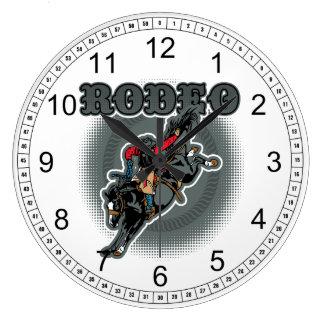 Rodeo Bareback Bronc Rider Large Clock