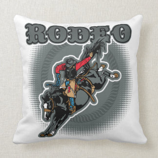 Rodeo Bareback Bronc Rider Throw Pillow