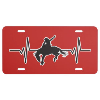 Rodeo Bronc Rider - Heartbeat Pulse Graphic License Plate