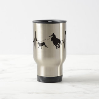 Rodeo Calf Roping - Heartbeat Pulse Graphic Travel Mug