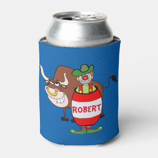 Rodeo Clown and Bull Personalized Can Cooler