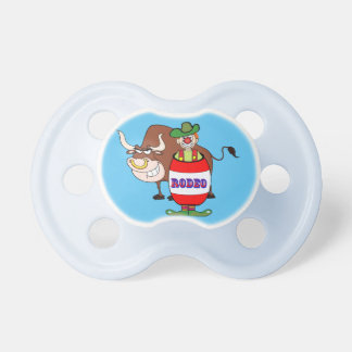 Rodeo Clown In Barrel And Bull Cartoon Baby Pacifiers