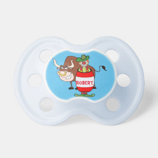 Rodeo Clown In Barrel And Bull Cartoon Personalize Pacifiers
