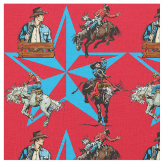 Rodeo Cowboy Bronc Riding Western Fabric