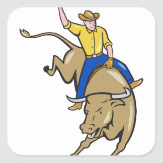 Rodeo Cowboy Bull Riding Cartoon Square Sticker