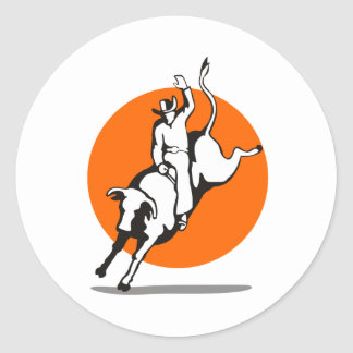 Rodeo cowboy bull riding round sticker