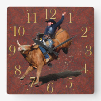 Rodeo Cowboy Bull-Riding Western Themed Clock