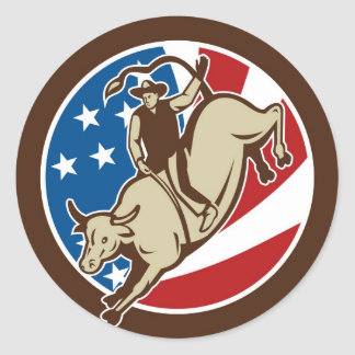Rodeo cowboy bull riding with stars and stripes round sticker