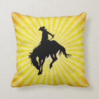 Rodeo Cowboy; yellow Throw Pillow