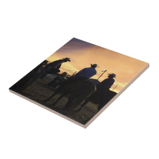 Rodeo Cowboys Waiting To Ride Tile