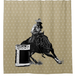 Rodeo Cowgirl Barrel Racing shower curtain