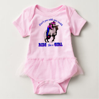 "Rodeo Cowgirl Mutton Bustin"" Ride Like A Girl Baby Bodysuit"