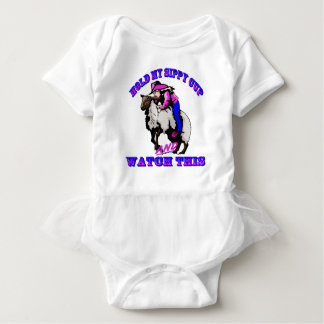 "Rodeo Cowgirl Mutton Bustin"" Sippy Watch This Baby Bodysuit"