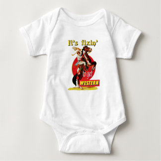 Rodeo Cowgirl On Horse Fixin to Get Western Baby Bodysuit