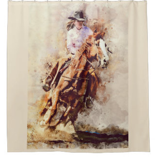 Rodeo Cowgirl riding horse shower curtain