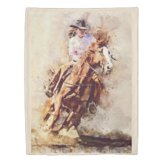 Rodeo Cowgirl riding horse shower curtain Duvet Cover