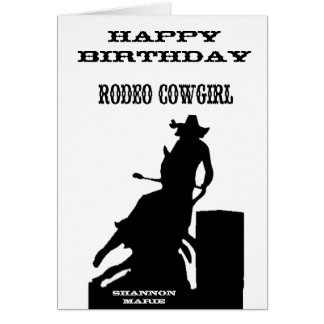 """Rodeo Cowgirl"" Western Birthday Card"