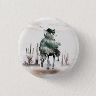 Rodeo - double exposure  - cowboy - rodeo cowboy 1 inch round button