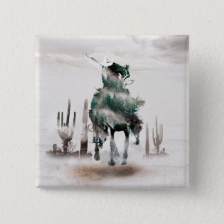 Rodeo - double exposure  - cowboy - rodeo cowboy 2 inch square button