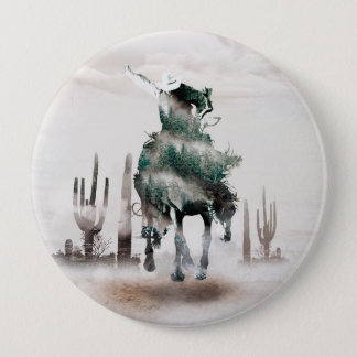 Rodeo - double exposure  - cowboy - rodeo cowboy 4 inch round button