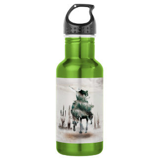 Rodeo - double exposure  - cowboy - rodeo cowboy 532 ml water bottle