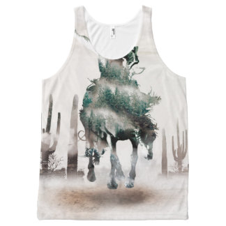 Rodeo - double exposure  - cowboy - rodeo cowboy All-Over-Print tank top