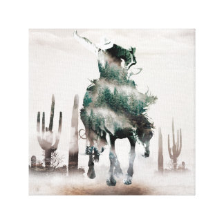 Rodeo - double exposure  - cowboy - rodeo cowboy canvas print