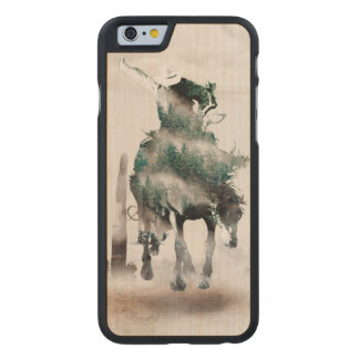 Rodeo - double exposure  - cowboy - rodeo cowboy carved maple iPhone 6 case
