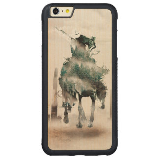 Rodeo - double exposure  - cowboy - rodeo cowboy carved maple iPhone 6 plus bumper case