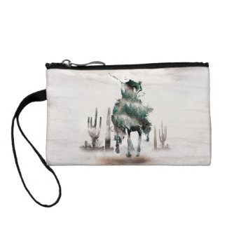 Rodeo - double exposure  - cowboy - rodeo cowboy coin purse