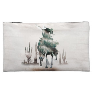 Rodeo - double exposure  - cowboy - rodeo cowboy cosmetic bag