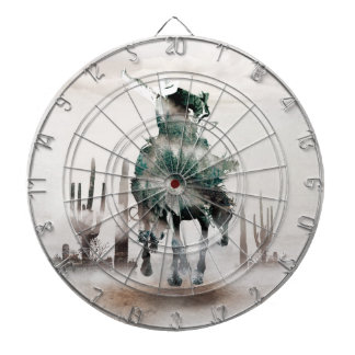 Rodeo - double exposure  - cowboy - rodeo cowboy dartboard