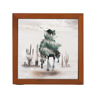 Rodeo - double exposure  - cowboy - rodeo cowboy desk organizer