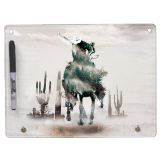 Rodeo - double exposure  - cowboy - rodeo cowboy dry erase board with keychain holder
