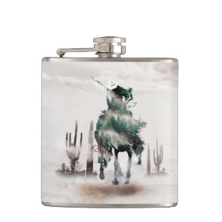 Rodeo - double exposure  - cowboy - rodeo cowboy hip flask