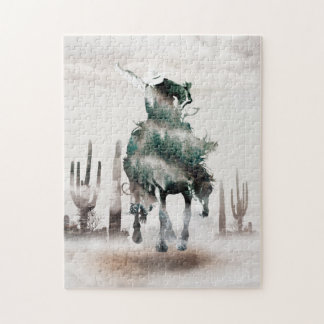 Rodeo - double exposure  - cowboy - rodeo cowboy jigsaw puzzle