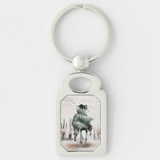 Rodeo - double exposure  - cowboy - rodeo cowboy keychain
