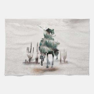 Rodeo - double exposure  - cowboy - rodeo cowboy kitchen towel