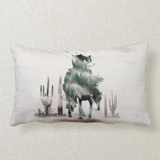 Rodeo - double exposure  - cowboy - rodeo cowboy lumbar pillow