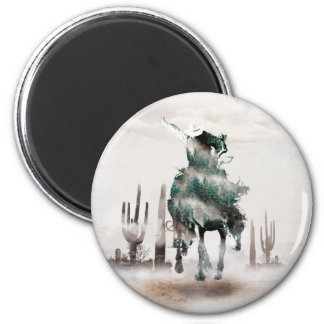 Rodeo - double exposure  - cowboy - rodeo cowboy magnet