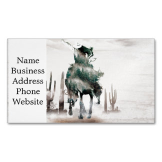 Rodeo - double exposure  - cowboy - rodeo cowboy Magnetic business card
