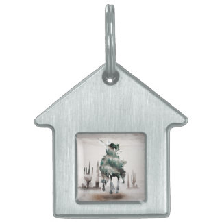 Rodeo - double exposure  - cowboy - rodeo cowboy pet name tag