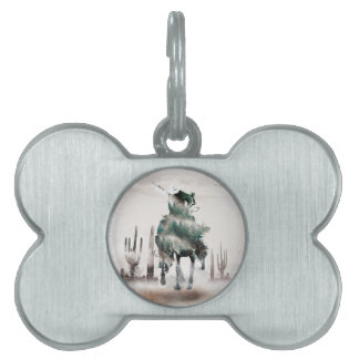 Rodeo - double exposure  - cowboy - rodeo cowboy pet tag