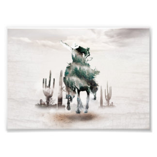 Rodeo - double exposure  - cowboy - rodeo cowboy photo print