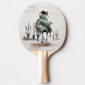 Rodeo - double exposure  - cowboy - rodeo cowboy ping pong paddle