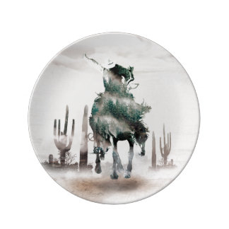 Rodeo - double exposure  - cowboy - rodeo cowboy plate