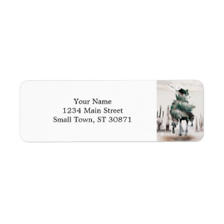 Rodeo - double exposure  - cowboy - rodeo cowboy return address label