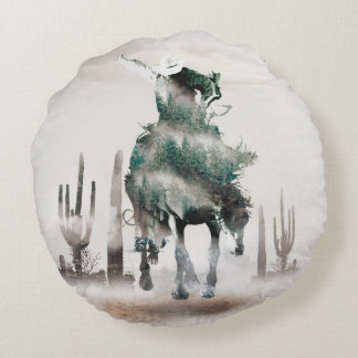 Rodeo - double exposure  - cowboy - rodeo cowboy round pillow