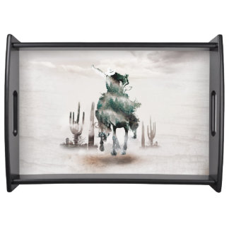 Rodeo - double exposure  - cowboy - rodeo cowboy serving tray