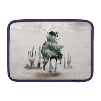 Rodeo - double exposure  - cowboy - rodeo cowboy sleeve for MacBook air